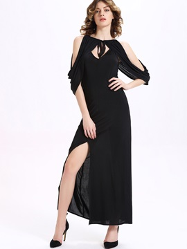 Chic Round Neck Off-the-Shoulder Maxi Dress