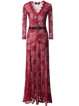 Print V-Neck Patchwork Empire Waist Maxi Dress