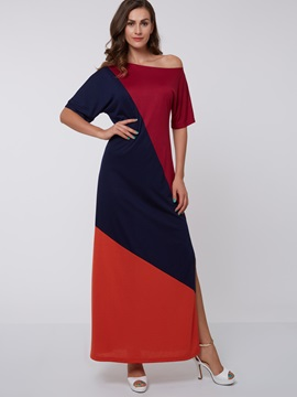 Color Block Oblique Collar Half Sleeve Maxi Dress