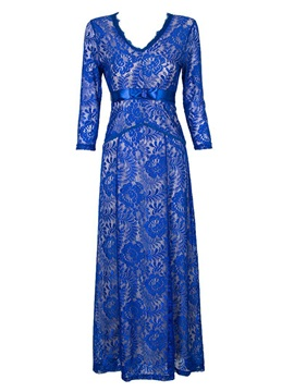 V-Neck 3/4 Sleeve Lace Patchwork Maxi Dress