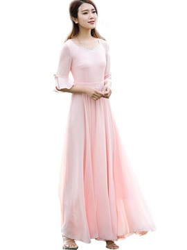 V-Neck Ruffle Sleeves Patchwork Maxi Dress