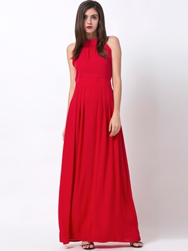 Solid Color Backless Sleeveless Maxi Dress
