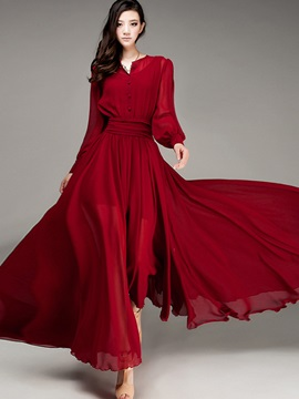 Lantern Sleeve Single-Breasted Expansion Maxi Dress