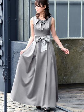 Solid Color Sleeveless Bow Knot Maxi Dress