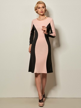 Patch-Work Round-Neck Bodycon Dress