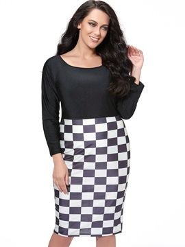 Contrast Paid Sleeve Empire Waist Bodycon Dress
