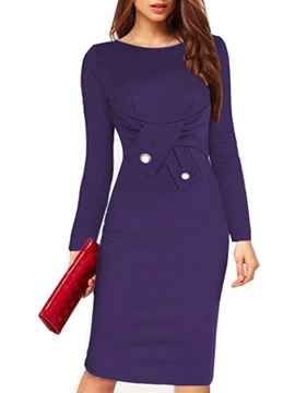 Solid Round Neck Long Sleeve Bodycon Dress