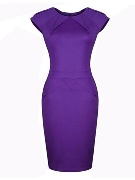Solid Short Sleeve Bodycon Dress with Zipper