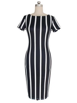 Stripe Short Sleeve Round Neck Bodycon Dress