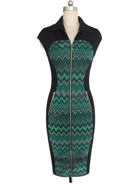 Patchwork Lapel Sleeveless Bodycon Dress with Zipper