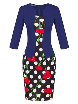 Floral Print Polka Dots Work Bodycon Dress