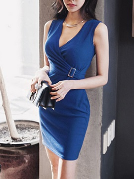 Plain V Ruffled Sleeveless Bodycon Dress