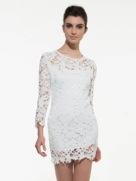 Chic Solid Color Long Sleeve Lace Dress
