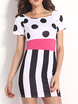 Short Sleeve Polka Dots Stripe Bodycon Dress
