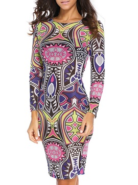 Print Round Nec kLong Sleeve Bodycon Dress