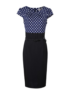 Polka Dots Short Sleeve Work Dress