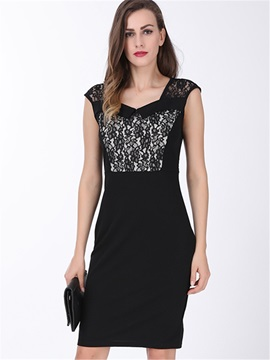 Chic Lace Patchwork Sleeveless Work Dress