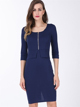 Square Neck Half Sleeve Zipper Work Dress