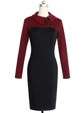 Color Block Houndstooth Work Dress