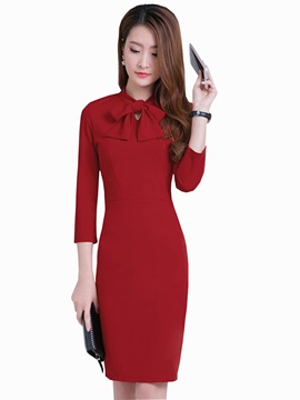 Bowknot Nine Points Sleeve Work Dress