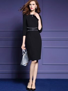 Chic Round Neck 3/4 Sleeve Bodycon Dress