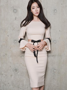 Round Neck Flare Sleeve Bowknot Work Dress