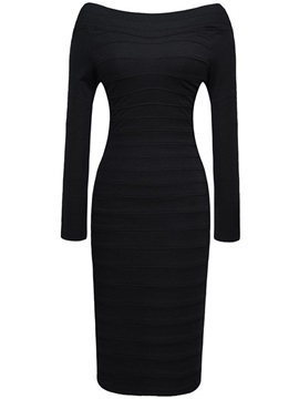 Solid Off-the-Shoulder Bodycon Dress