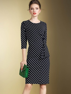 Vertical Striped 3/4 Sleeve Falbala Bodycon Dress