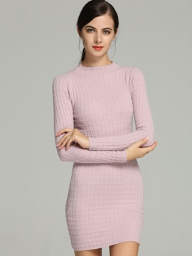 Solid Color Empire Waist OL Sweater Dress