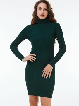 Solid Turtleneck Elegant Sweater Dress