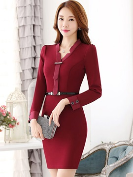 Chic V-Neck Button Belt Work Dress