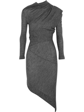 Plain Pullover Asymmetrical Bodycon Dress