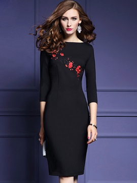 Print Embroidery 3/4 Sleeve Bodycon Dress