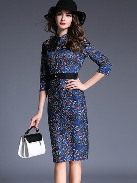 Print Stand Collar Single-Breasted Bodycon Dress