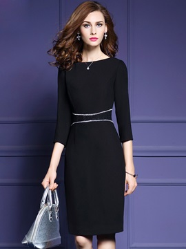Round Neck 3/4 Sleeve Patchwork Work Dress