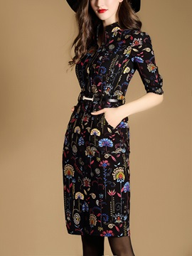 Floral Stand Collar Single-Breasted Bodycon Dress