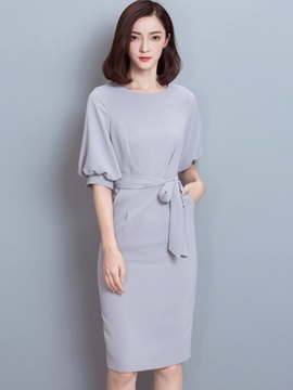 Solid Color Lantern Sleeve Bowknot Bodycon Dress