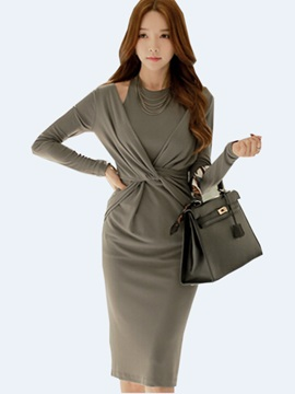 Solid Color Pullover Pleated Bodycon Dress