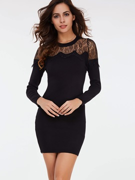 Solid Color Patchwork Lace Bodycon Dress