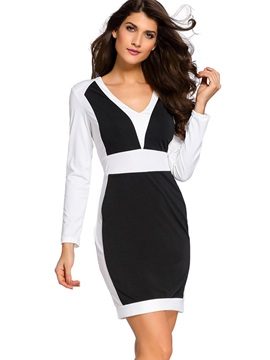 Color Block V-Neck Zipper Bodycon Dress