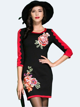 Floral Print Patchwork Embroidery Bodycon Dress