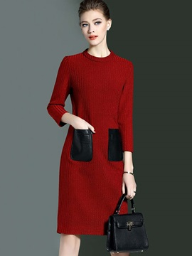 3/4 Sleeve Pocket Patchwork Sweater Dress