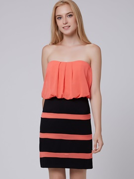 Color Block Sleeveless Backless Bodycon Dress