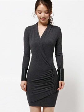 Simple V-Neck Pullover Sheath Dress