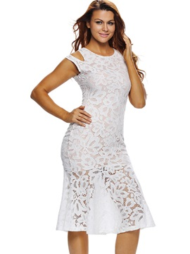 Sleeveless Round Neck Hollow Lace Dress