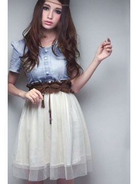 Lovely Korean Style Split Joint Short Sleeves Lace Jeans Vintage Style Dress