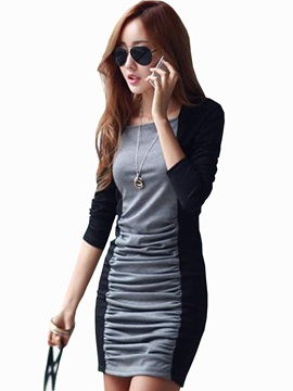 European Split Joint Pleated Sheath Dress