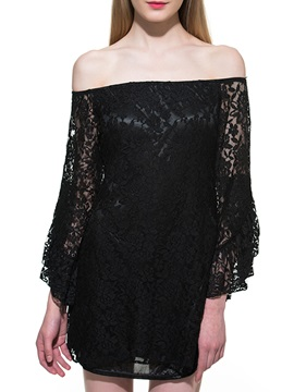 Black Lace Boat Neckline Off-Shoulder Short Day Dress