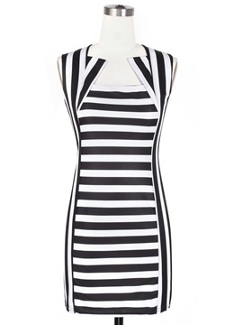 Modern Black White Striped Sleeveless Bodycon Dress