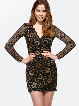 Fashion Luxury V Neckline Lace Jacquard Dress